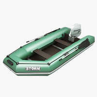 3d model inflatable engine boat green