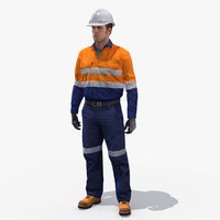 safety worker rig 3d max