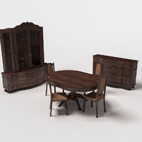 furniture dining room set 3d max