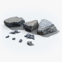 scanned rocks real time 3d model