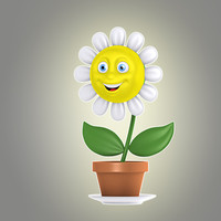 cartoon flower 3d model