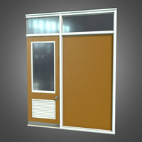 3d obj retro office partition set