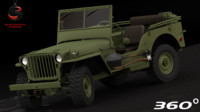 3d jeep willys 1941-1945 model