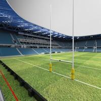 3d rugby stadium model