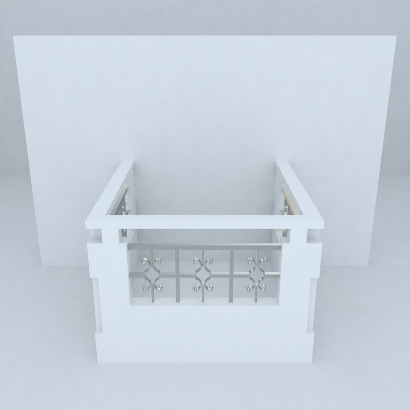 3d french balcony model for Balcony models