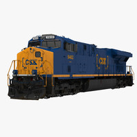 locomotive es40dc csx blue 3d obj