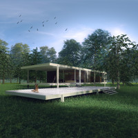 3d model ludwig mies house farnsworth