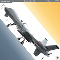 3d mq-9 reaper military aircraft model