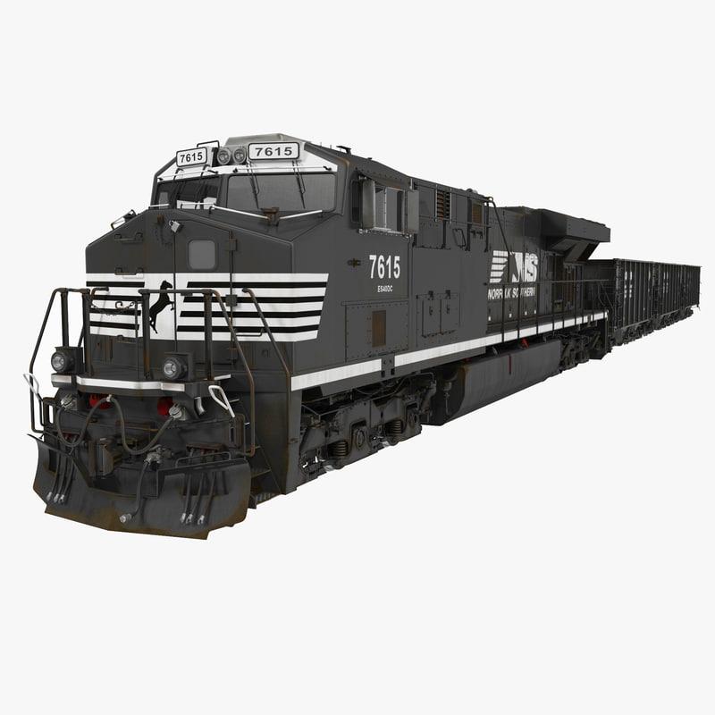 Train ES40DC Norfolk Southern and Hopper Car 3d model 00.jpg