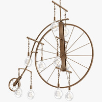 obj large brass bicycle chandelier