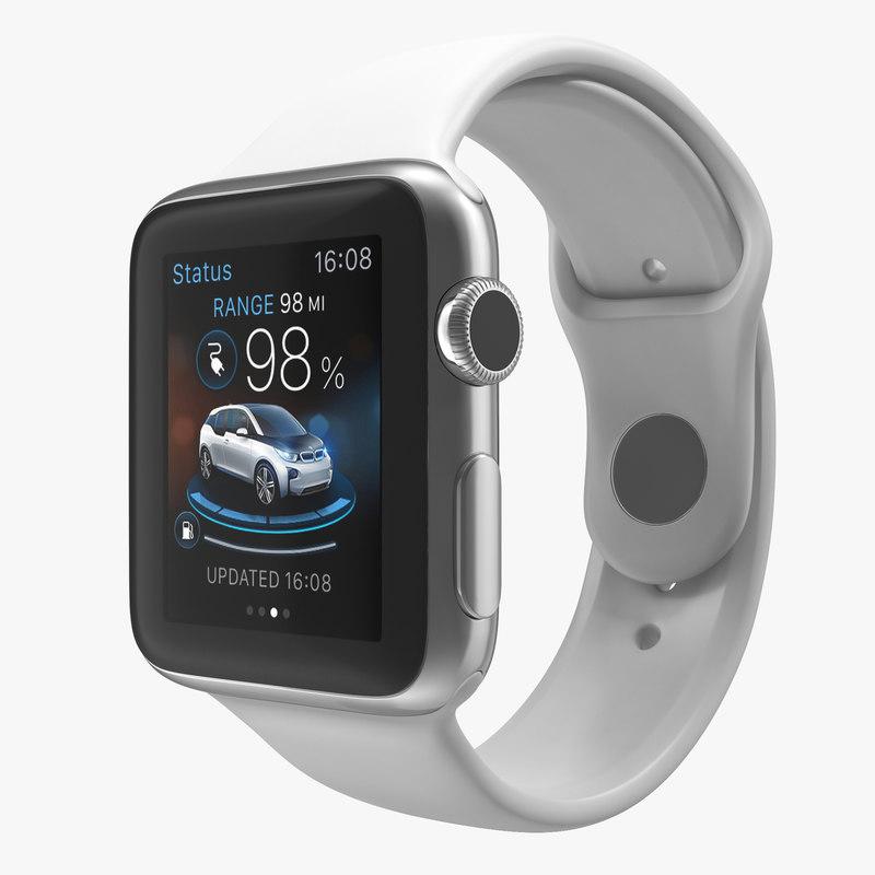 3d model of Apple Watch 38mm Fluoroelastomer White Sport Band 00.jpg