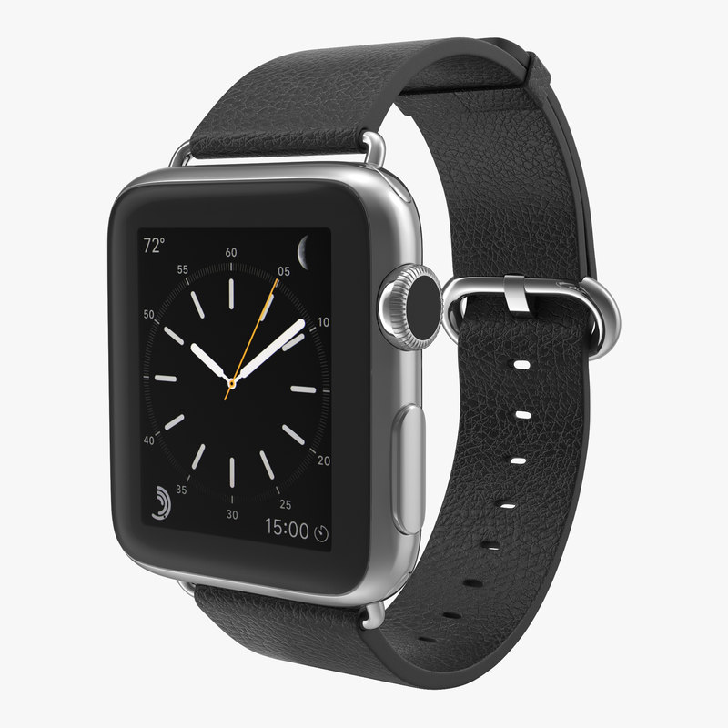 Apple Watch 38mm Classic Buckle Black Leather Stainless Steel 00.jpg
