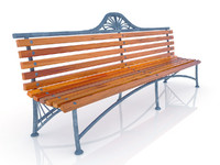 3d wooden-metal bench model