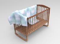 wooden baby crib 3d fbx