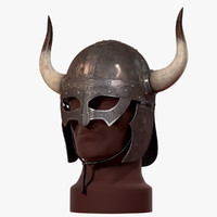 3d viking horned helmet v-ray model