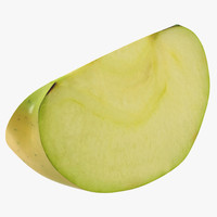 3d model of green apple slice 2