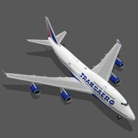 3d boeing 747-400 transaero airlines model
