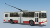 3d model soviet trolleybus ziu-682v 1989