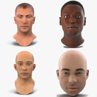 3ds max male rigged heads