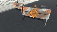 3dsmax men work road sign