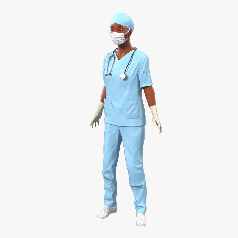 Female Surgeon African American Rigged 3d model 00.jpg