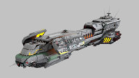 3d scifi space cruiser