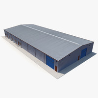 warehouse building 3 blue 3d max