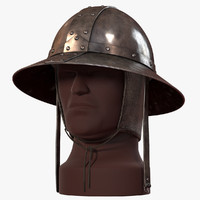 kettle hat medieval helmets 3d model