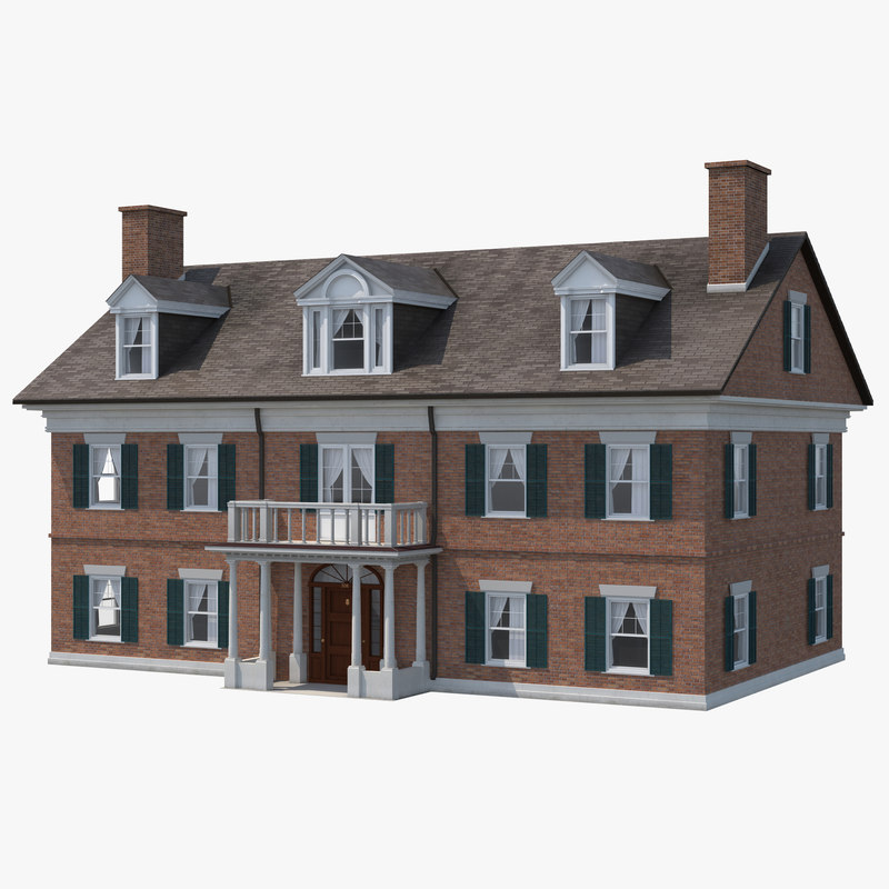 3d model colonial house build for House 3d model