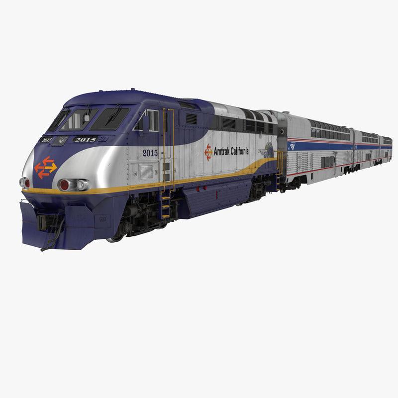 Passenger Double Deck Train Amtrak 3d model 00.jpg