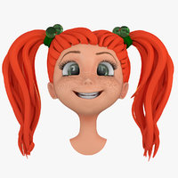 3d cartoon girls head face