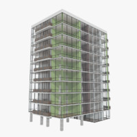 3d apartment tower building interior model