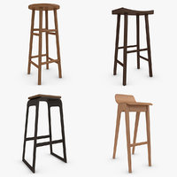 3d model bar stool set