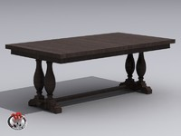 3d dark wood table model