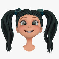 cartoon girls head face 3d model