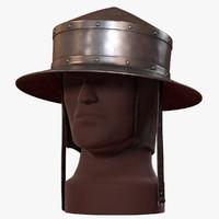 3d model pointed kettle hat chapel