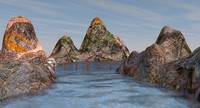 3ds landscape water mountains