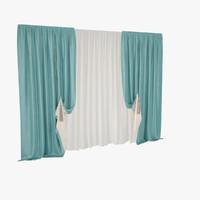 3d model velvet curtain