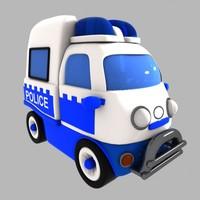 police car toon 3d 3ds