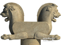 3d lion capital column persepolis model