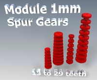 spur gear set teeth 3d 3ds