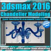 3ds max 2016 Chandelier Modeling 3 Mesi Subscription