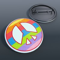 badge peace love 3d max