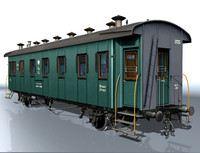 3d model 2-axle carriage passenger