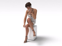 sexy girl sitting pose 3d model
