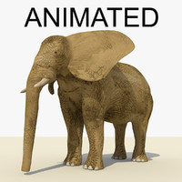 3d model rigged brown elephant animation