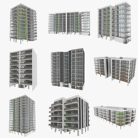 3d set apartment buildings interiors model