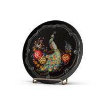 3d model plates bird flowers