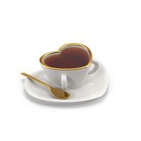 3d cup heart tea model
