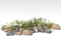 bush with stones